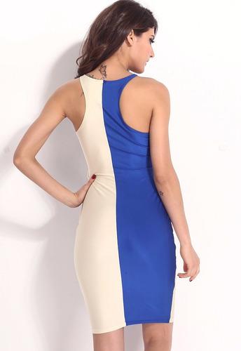 vestido sexy azul beige amplio escote moda table dance 21230