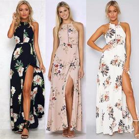 Vestido Sexy Casual Y Floral Veraniego De Playa De Moda