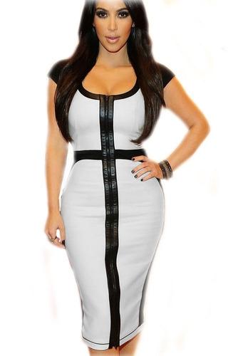 vestido sexy elegante blanco negro moda retro cierre 6514