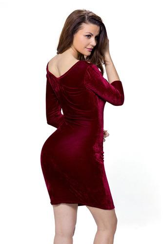 vestido sexy en terciopelo vino con aberturas fiesta 22925