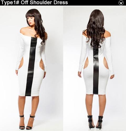 vestido sexy fiesta con manga blanco franja negra moda retro