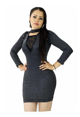 vestido sexy lurex unitalla pegado brillante agujeta vc72 antro con transparencias show