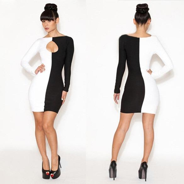 Vestidos mitad blanco mitad negro