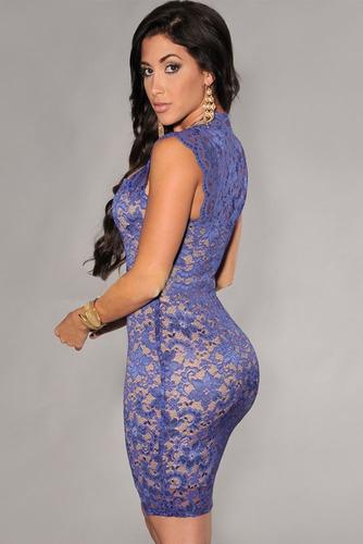 vestido sexy moderno fiesta encaje azul nude illusion 21036