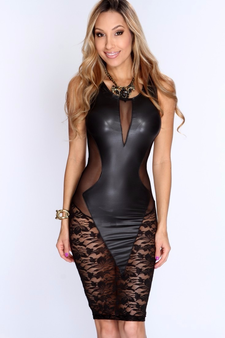 Vestido de couro preto colado