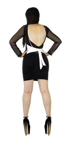 vestido sexy pegado laurex brillos moño cadenas vc20l