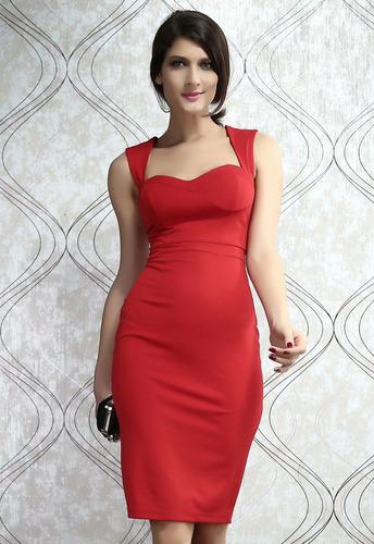 vestido sexy rojo abertura en espalda moda retro fiesta 6185