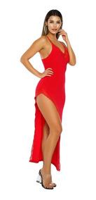 Vestido Sexy Rojo Largo Elegante Moderno Con Abertura 610193