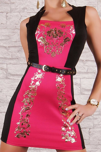 vestido sexy rosa negro con adornos en dorado cinturon 2928