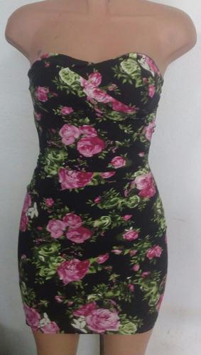 vestido sexy strapless negro estampado rosas moda fiesta