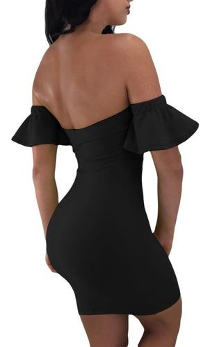 vestido sexy strapless negro moderno manga olan antro 220343
