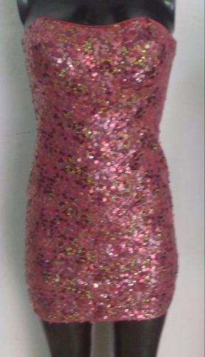 vestido sexy strapless rosa brilloso negro moda fiesta antro