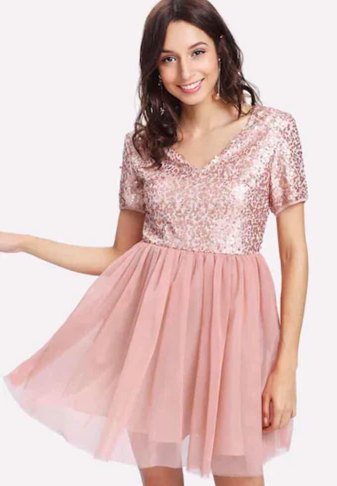 muchas opciones de nueva productos calientes gran venta Vestido Shein De Mesh Con Lentejuelas Palo Rosa Talla M