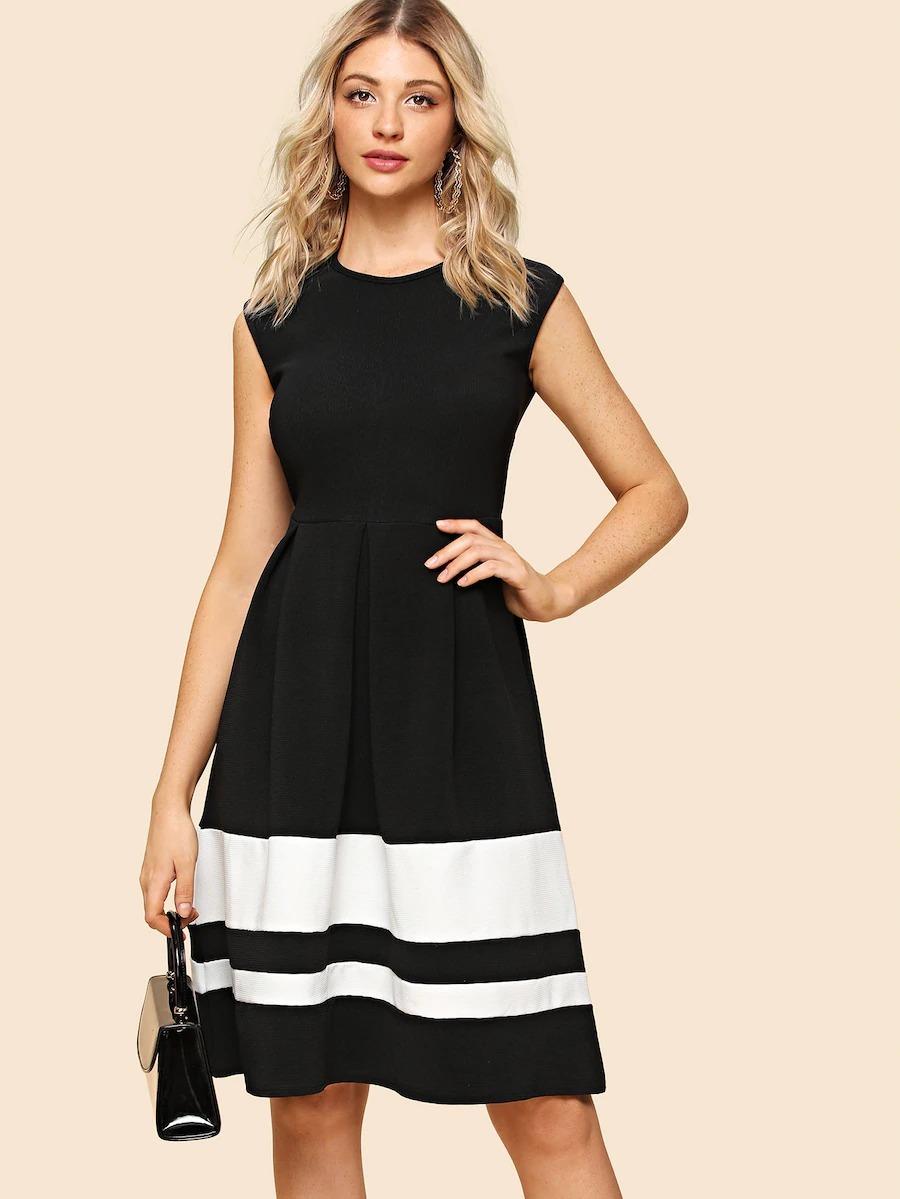 828ac2b2533b Vestido Shein Por La Rodilla Blanco Y Negro Con Cierre - $ 699,00 en ...