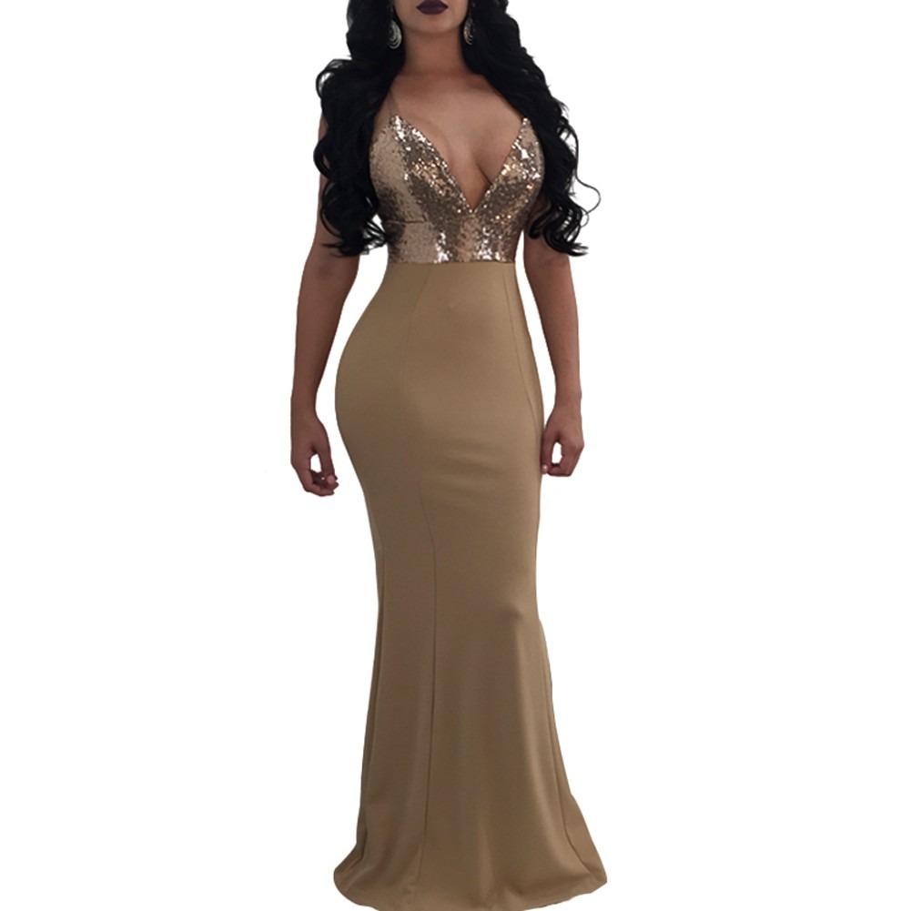 2fd9d95321 vestido sin espalda con escote v lentejuelas sensual p mujer. Cargando zoom.