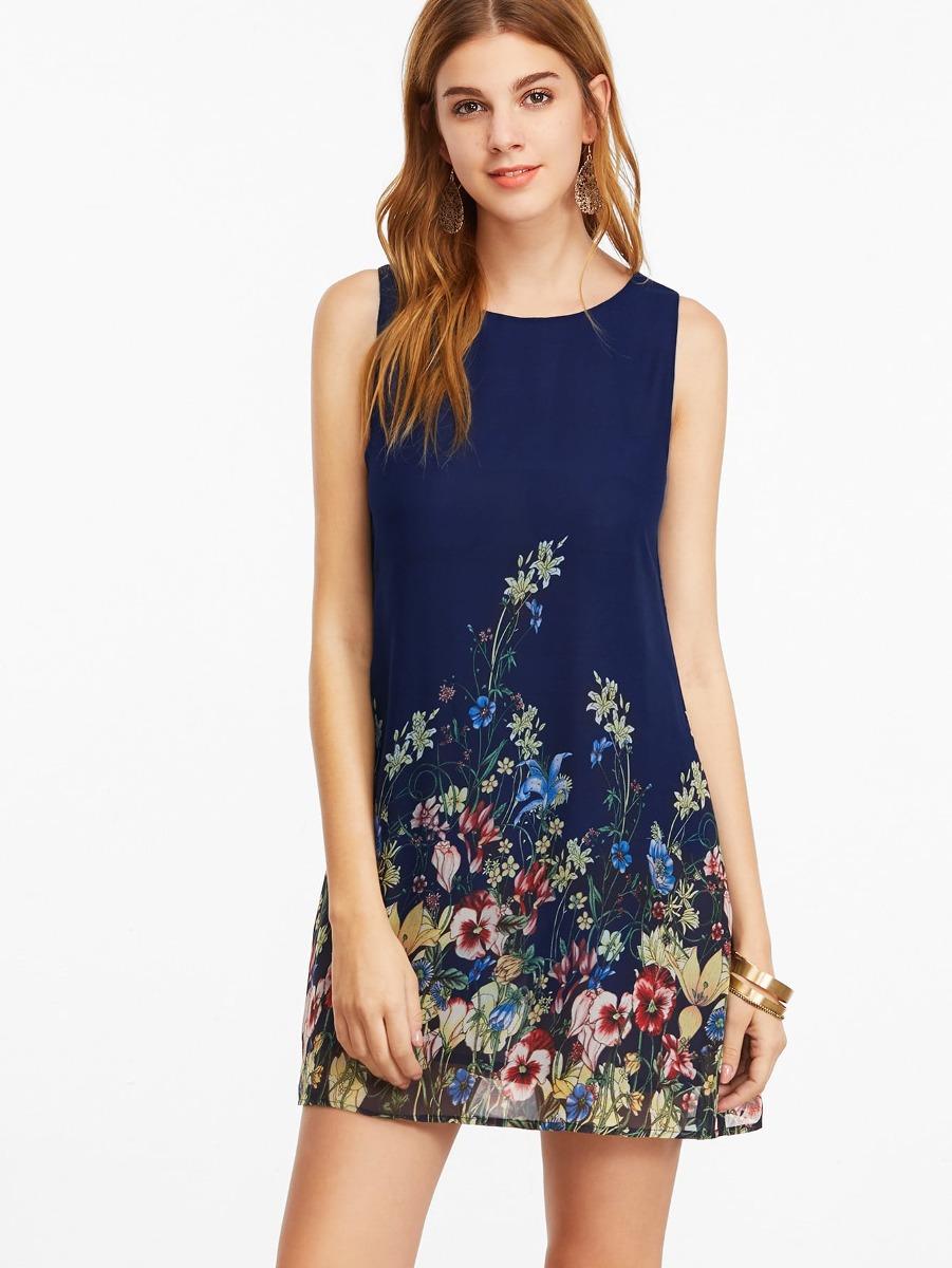 99fcc5d4679fd Vestido Sin Mangas Con Estampado Floral - Azul Marino -   552.26 en ...