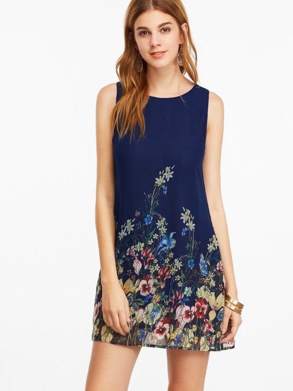 fa3741ac815c1 Vestido Sin Mangas Con Estampado Floral - Azul Marino.v14 -   690.00 ...