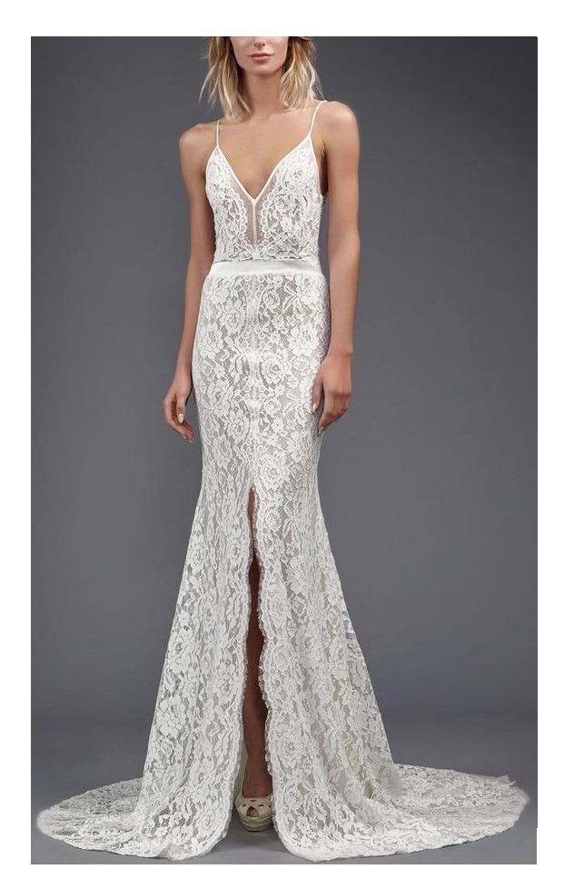 vestido sirena de novia con encaje. tajo adelante a medida