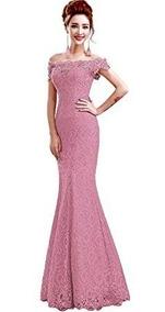 Vestido Sirena Graduacion Madrina Boda Fiesta Elegante Rosad