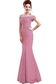 a4a5e596fb67 Vestido Sirena Graduacion Madrina Boda Fiesta Elegante Rosad