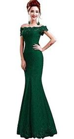 Vestido Sirena Graduacion Madrina Boda Fiesta Elegante Verde