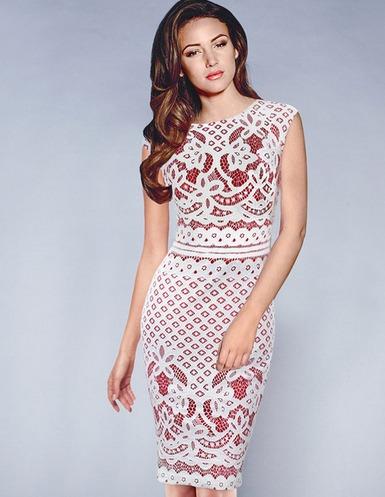 92442cfdc426 Vestido Social Casual Com Sobreposição Em Renda Floral - R$ 181,00 ...