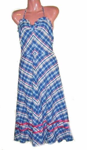 vestido solera cuadrillé sin espalda, largo talla s
