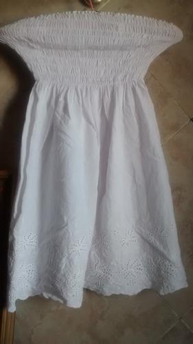 vestido solero blanco bordado strapless o pollera oferta!