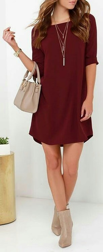 vestido soltinho manga 3/4 liso
