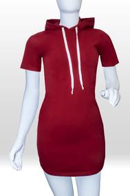 Vestido Sport Corto Con Gorro Color Vino Para Mujer