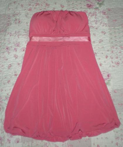 vestido strapless balloon coral
