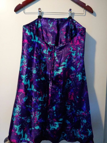 vestido strapless corto de saten estampado con corse interno
