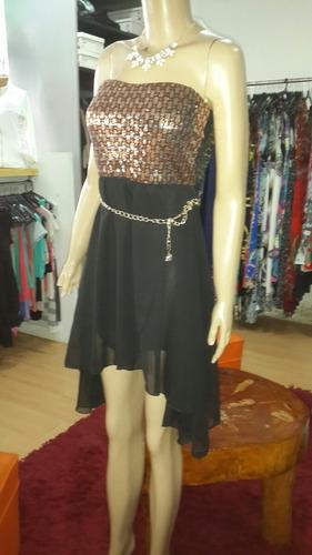 vestido strapless  corto y largo. ..