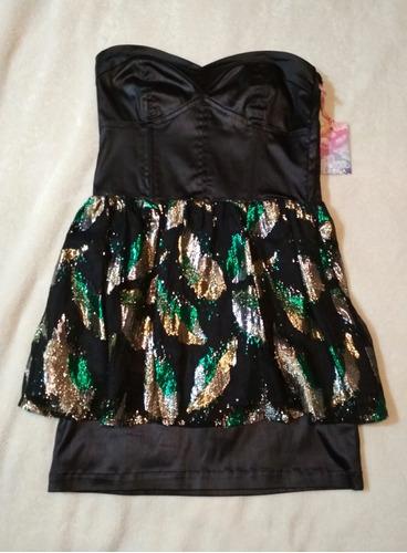 vestido strapless de fiesta negro corte peplum