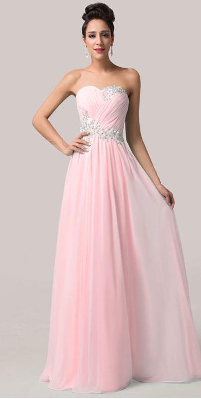 Vestido Strapless Elegante Formal Fiesta Grados Cóctel Pink ...