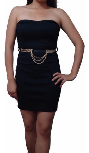 vestido strapless ideal para fiesta entallado incluye cintur
