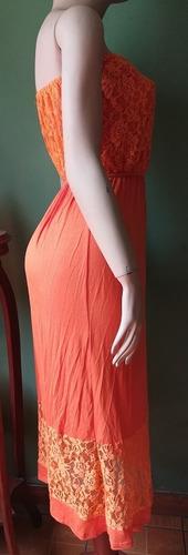 vestido strapless largo encaje algodon strech t=sm importado