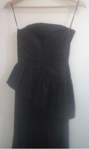 vestido strapless largo negro fiesta noche talle s