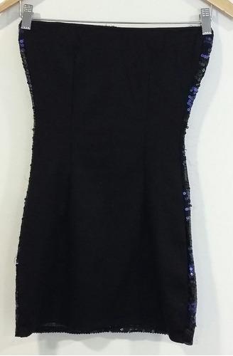 vestido strapless negro bordado con lentejuelas small fiesta
