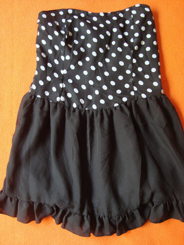 vestido strapless negro lunares importado alice sale news!!!