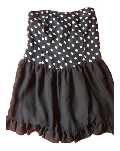 vestido strapless negro lunares importado env.gratis cuotas!