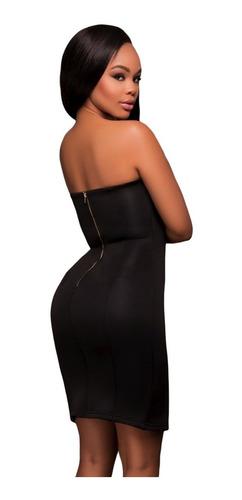 vestido strapless negro sexy con botones antro fiesta 22949