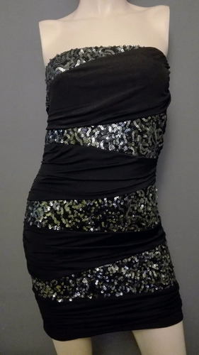 vestido strapless negro stretch sexy antro speechless