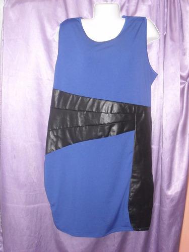 vestido strech detalle cuero 2xl 3 xl grande especial