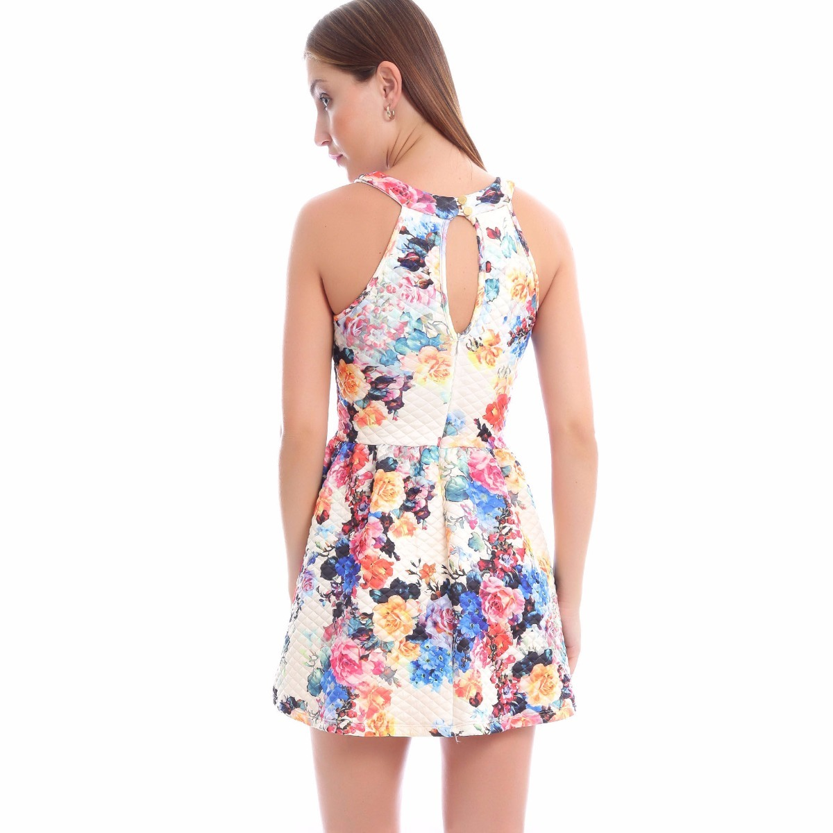 a56ec7c3f Vestido Studio F Flores Escote En Espalda Talla S Único - $ 299.00 ...