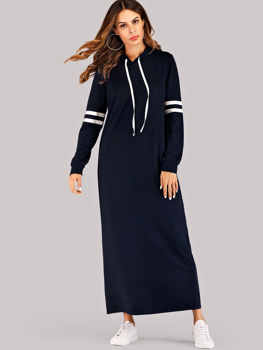d615ad79a vestido sudadera con capucha de lado de rayas en contraste. Cargando zoom.