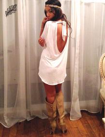 Vestido Suelto Basico Espalda Abierta