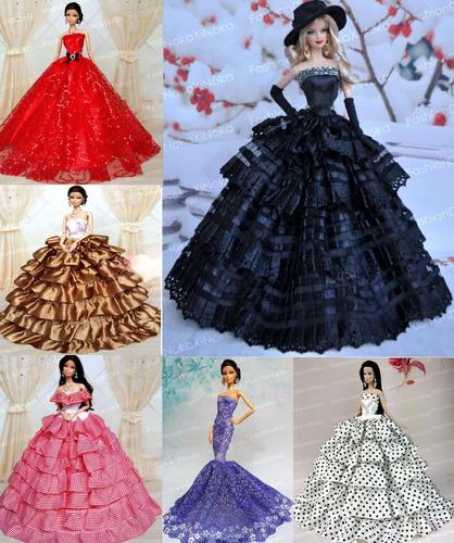 vestido super luxo para boneca barbie * colar + sapato