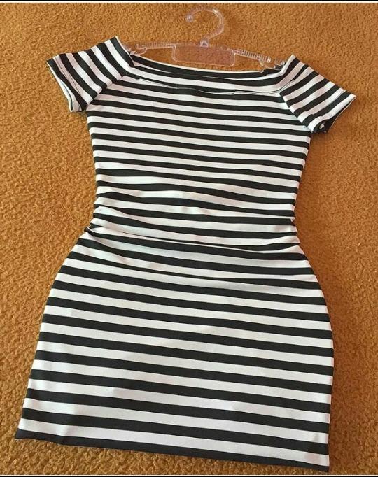 a6d0835c0 Vestido Suplex Listrado Barato Preto E Branco - R$ 25,49 em Mercado ...