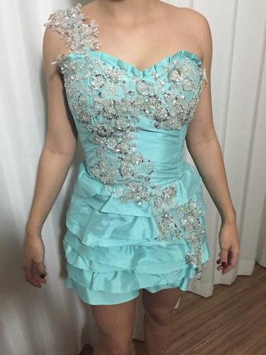 vestido tafetá com renda bordada 15 anos/ formatura